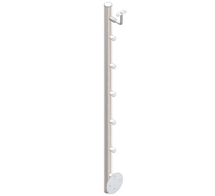 POTEAU ROND INOX LATERAL AVEC SUPPORTS DE BARRE