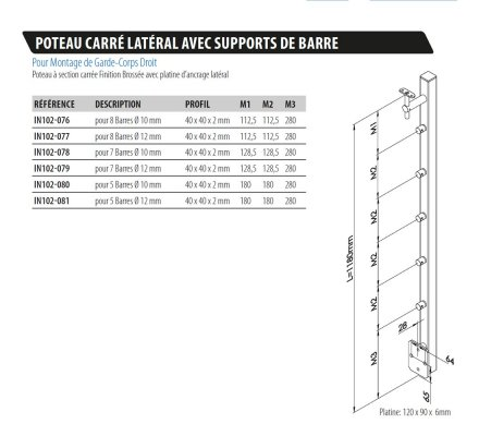 POTEAU CARRE LATERAL A SUPPORTS DE BARRE INOX