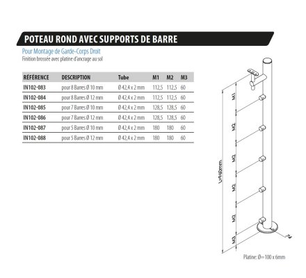 POTEAU ROND INOX AVEC SUPPORTS BARRES