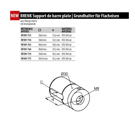 BRENK Support inox 304 pour barre plate