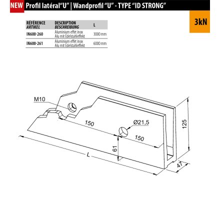 PROFIL LATERAL GARDE-CORPS VERRE POUR ERP - 3KN
